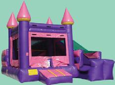 Princess Mini Slide as low as $149.00 a day dry or $199.00 a day wet. Includes a jumping area, a climbing ramp and small slide.  This unit is ideal for kids up to age 6.  Unit dimensions are 15w*18d.