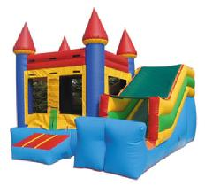 Castle Mini Slide as low as $139.00 a day dry or $189.00 a day wet. Includes a jumping area, climbing ramp and small slide.  Ideal for kids up to age 6. Unit diminsions 15w*18d