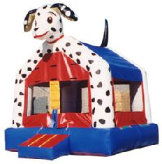 Dalmation Bouncer as low as $79.00 a day.  Unit dimensions are 13w*13d.
